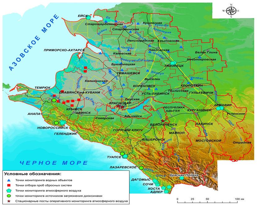 Территориальная система наблюдений за состоянием окружающей среды на территории Краснодарского края.